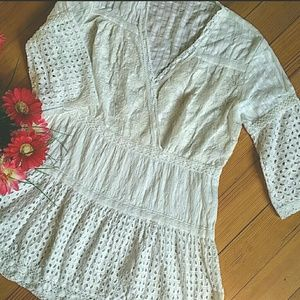 NWOT White Lace Eyelet & Crocheted V Neck Blouse